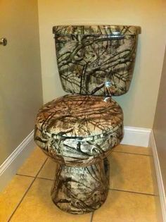 No man cave would be complete without a camp toilet. Decor, Camo Bathroom, Home, Earthy Colors, Hydro Printing, Side Table, Cool Stuff, Gold Bathroom, Toilet