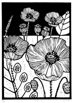 The lines and contrast. Poppy Field. by Helen Maxfield - linocut - lino print