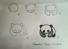 How to draw a panda. Doodle.