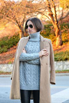 Gray knit + camel coat