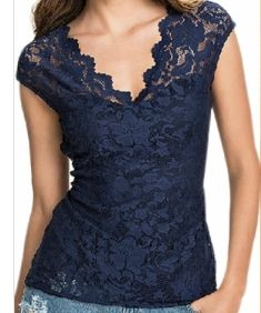 Women Navy Blue Lace Blouse