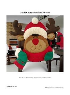 CUBRE SILLAS RENO NAVIDAD Christmas Chair, Christmas Crafts, Merry Christmas, Xmas, Christmas Ornaments, Chair Covers, Teddy Bear, Holiday Decor, Pattern