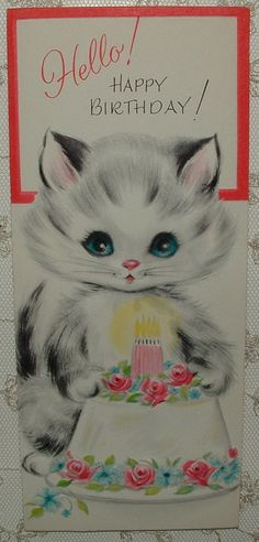 1950's KITTY WITH CAKE