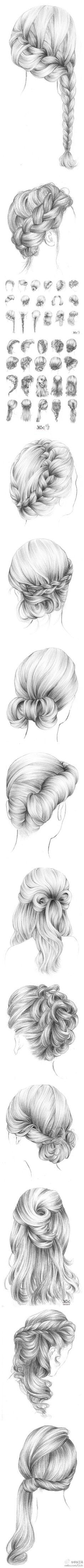 【绘画素材】步骤 教程 #治愈系# #小清新# 头发 #素描#