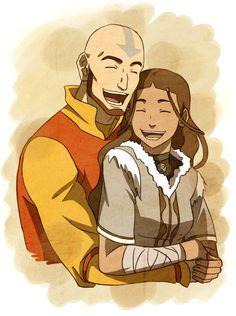 Aang and Katara - by sherbies