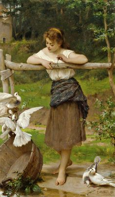 Émile Munier (June 1840 – June was a French academic artist and student of William-Adolphe Bouguereau. Émile Munier was born in. Classic Paintings, Old Paintings, Beautiful Paintings, Romanticism Paintings, Pub Vintage, Vintage Art, Munier, William Adolphe Bouguereau, Oil Painting Reproductions