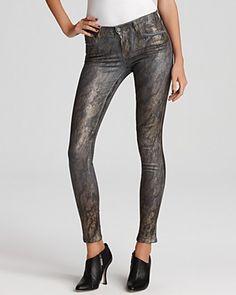 J Brand 901 Golden Snakeskin Skinny Jeans in Grey
