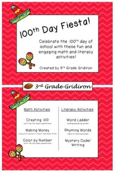 100th Day of School Fiesta - Math and Literacy Activities from 3rd Grade Gridiron on TeachersNotebook.com -  (9 pages)  - Fun and engaging math and literacy activities for the 100th day of school!
