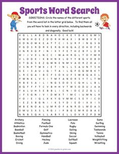 Here Is An Engaging Word Search Puzzle With 32 Sports To Look For Lots Of