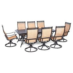 Hanover Manor Aluminum 9 Piece Rectangular Patio Dining Set > Set with 8 sling-style chairs, 1 table Heavy-duty aluminum frames Protective polished bronze coating Check more at http://farmgardensuperstore.com/product/hanover-manor-aluminum-9-piece-rectangular-patio-dining-set/