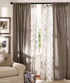 Lovely Best Decor Hacks : Give Your Windows Depth! Layer Curtains In The Living  Room. Love This Pattern An.