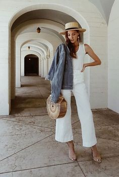 A Month's Worth Of Chic Spring Outfits: Fashion blogger 'Could I Have That' wearing a denim jacket, a white tank top, white culottes, nude ankle strap sandals, a straw boater hat and a bamboo clutch. Spring outfits, casual outfits, fashion trends 2018, casual outfits, simple outfits, summer outfits, denim jacket outfits, vacation outfits #fashion2018 #casualstyle #springstyle #streetstyle #ootd #fashionblogger #denimjackets #culottes