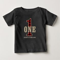 Rustic Red Black Buffalo Plaid 1st Birthday Party Baby T-Shirt - modern gifts cyo gift ideas personalize