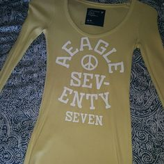Yellow AE thermal long sleeve Yellow thermal shirt from AE. American Eagle Outfitters Tops Tees - Long Sleeve