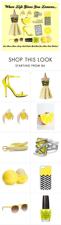 """""""When Life Gives You Lemons..."""" by kaykay-mara ❤ liked on Polyvore featuring Rare London, David Yurman, Eos, CellPowerCases, maurices and OPI"""