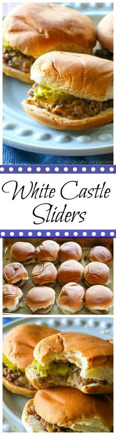 White Castle Sliders White Castle Sliders - a copycat version of the sandwich great for parties. I can't vouch that they're exactly the same but they're good! the-girl-who-ate- White Castle Sliders, Slider Recipes, Sandwich Recipes, Beef Recipes, Cooking Recipes, Copycat Recipes, Jalapeno Recipes, Sausage Recipes, Dip Recipes