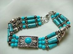 Vintage Southwest Turquoise 3 Strand Beaded Silver Bracelet