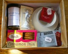 """Great Mothers Day gift idea!  A """" Tea party in a box!""""  I cut open each tea bag,  took out the tea string, and taped on """" Tea quotes"""".  I then taped up the tea bag again so the aroma's from the different kinds of tea wouldn't mix."""
