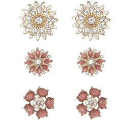 Charlotte Russe Faceted Stone & Rhinestone Flower Earrings - 3 Pack (40 CNY) ❤ liked on Polyvore featuring jewelry, earrings, gold, flower stud earrings, blossom jewelry, flower earrings, rhinestone jewelry and charlotte russe