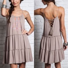 The JOHANNA ️BOHO chic ️DRESS - TAUPE 3 colors available: Cream, black & taupe. So very ️BOHO Chic! Light material so I recommend wearing with a slip. Super cute tie back design. ‼️️NO ️TRADE, PRICE FIRM‼️ Dresses
