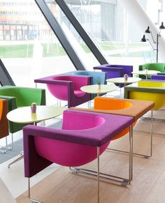 Color // colorful felt and chrome chairs at the Vienna University Of Economics And Business by STUA