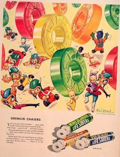 A thoroughly adorable vintage illustrated Lifesavers candy ad.My Grandmother always gave me lifesavers!!!