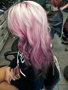 Blonde pink and black ombré hair