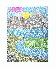 Typography landscape: draw a basic landscape design and fill in the areas of color using words to describe the landscape feature.or the word for the color you are using.or a descriptive word 6th Grade Art, Jessica Hische, Ecole Art, School Art Projects, Middle School Art, Arts Ed, Art Lesson Plans, Art Classroom, Art Club