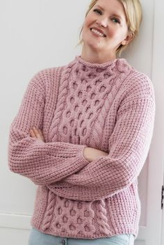 Free Knitting Pattern for Honeycomb Cabled Sweater - This long-sleeved pullover features a cabled panel framed by cable braids on an easy textured background. Sizes ranging from Designed by Lea Petäjä for Novita. Cable Knitting, Sweater Knitting Patterns, Free Knitting, Cable Knit Sweaters, Long Sweaters, Jumpers For Women, Sweaters For Women, Quick Knits, Sweater Fashion