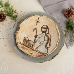 Etta B Pottery Nativity Family Plate Christmas Nativity, Nativity Ornaments, Christmas Rock, Nativity Crafts, Wooden Ornaments, Hand Painted Ornaments, Ornament Crafts, Diy Christmas Ornaments, Christmas Projects
