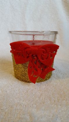 Decorative Container Candle Gold Glitter and Red Bow