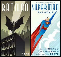 These two movie posters are very imply made. Both show movement because of their diagonal lines. The Batman poster is made black and white and has a very dark feeling to it. The Superman poster on the other had is bright and colorful, more inviting. Art Deco Font, Art Deco Stil, Modern Art Deco, Art Deco Design, Art Deco Illustration, Disney Canvas Art, Art Deco Posters, Retro Posters, Design Posters