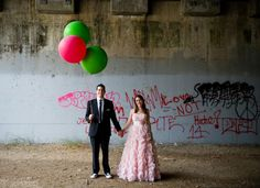 Watermelon whimsy! Urban venue, shades of pink and green with touches of black  Photo by Flory Photo