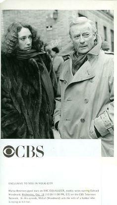 MARISA BERENSON FUR COAT EDWARD WOODWARD THE EQUALIZER ORIGINAL '85 CBS TV PHOTO #Photos