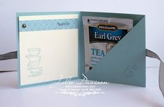 I made this project with my Stamp Club last month. It's a simple pocket holder and could be used for other things besides tea! I paper pier...
