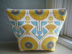 Cosmetic Bag Zippered Pouch Clutch in Joel Dewberry's Sunflower Motif with a Laminated  Polka Dot Lining on Etsy, $22.00