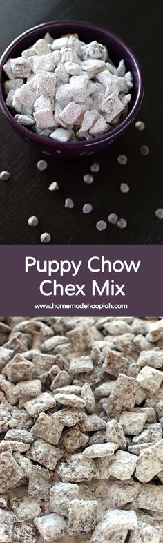 """Puppy Chow Chex Mix! Crunchy Chex cereal covered in chocolate, peanut butter, and sugar. Puppy Chow Chex Mix is the classic winter snack food!   <a href=""""http://HomemadeHooplah.com"""" rel=""""nofollow"""" target=""""_blank"""">HomemadeHooplah.com</a>"""