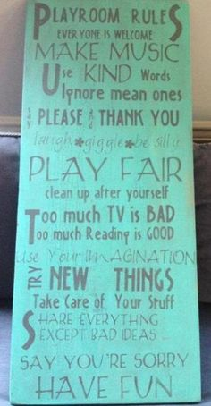 """Distressed handpainted sign...""""Playroom rules""""...great gift idea...home decor...Kids room...Playroom on Etsy, $104.00"""