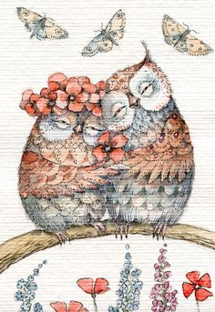 Lovely! ~ Illustrations, Illustration Art, Dibujos Tumblr A Color, Owl Artwork, Cute Animal Drawings Kawaii, Paper Owls, Owl Cartoon, Owl Pictures, Beautiful Owl