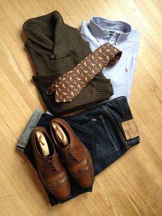 Shawl collar sweater, OCBD, pointer tie, dark wash denim, wingtips. Good.
