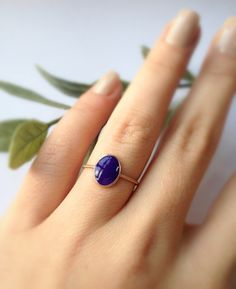 What a beauty!  I love the simplicity of this ring....Alzena Collection Oval Sapphire Color Enamel Sterling by ADYAbyNY, $50.00