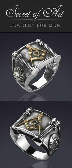 purchase cheap cb5ea fc2f0 Mens Masonic Mason G and Pillars 925 Silver Ring Freemason 24K Gold-Plated  Parts Very