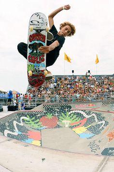 Skateboarding pool air