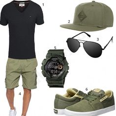 Summer style in black and khaki - Sommer-Style im Schwarz und Khaki – Men& style for the summer with a Tommy Hilfiger shirt, Djinns cap, black aviator glasses, Casio G-Shock, Supra shoes and khaki shorts. Tommy Hilfiger Shirts, Black Aviator Sunglasses, Black Aviators, Aviator Glasses, Summer Outfits Men, Short Outfits, Khaki Shorts Outfit, Short Kaki, Men Accessories