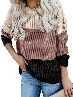 New Kancystore Womens Casual Crew Neck Color Block Oversized Sweater Long Sleeve Knit Pullover Jumper Tops online – knitting sweaters long Baggy Sweaters, Petite Sweaters, Casual Sweaters, Pullover Sweaters, Sweaters For Women, Color Block Sweater, Pulls, Long Sleeve Sweater, Batwing Sleeve