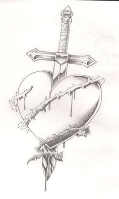 Sword bleeding rose tattoo – yahoo image search results - Lombn Sites Sad Drawings, Cool Art Drawings, Pencil Art Drawings, Art Drawings Sketches, Tattoo Drawings, Broken Heart Drawings, Broken Heart Tattoo, Drawings Of Hearts, Bleeding Rose