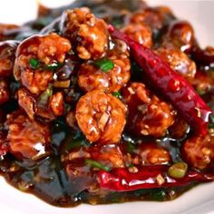 Spice up you night with this delicious General Tso& Shrimp. You can easily substitute chicken for the shrimp. Serve with a side of rice. Fish Recipes, Seafood Recipes, Asian Recipes, Chicken Recipes, Dinner Recipes, Cooking Recipes, Healthy Recipes, Chinese Shrimp Recipes, Oriental Recipes