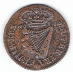 1681 Armstrong & Legge's Regal Coinage - 1681 Halfpenny of 12 Strings, Coins, Personalized Items, Rooms