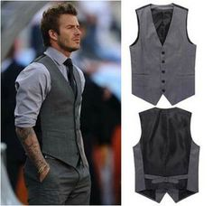 New Men's Slim Fit Casual Formal Dress Vest Suits Tops Gray Grey M-XXL