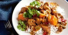 This stew takes its inspiration and flavouring from a Jamaican spice mix rubbed over chicken or meat before barbecuing.
